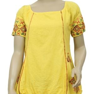 Free People Embroidered Boho Yellow Cotton  Top M
